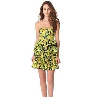 ALICE & OLIVIA LISA STRAPLESS BUSTIER TIERED DRESS
