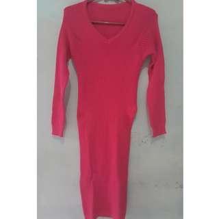 Dress pink rajut streetch