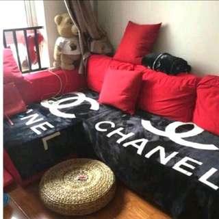 🚚 全新 黑色香奈兒CHANEL大毛毯 空調毯