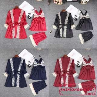 New stock📣📣3pcs ladies silk satin blend pajamas set