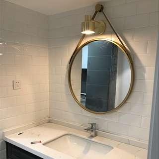 READY STOCK 70cm wall mirror in GOLD COLOR