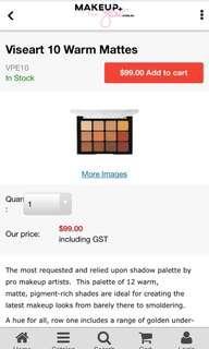 Brand new viseart warm tone palette