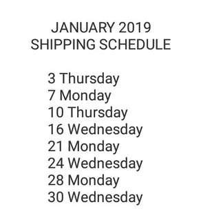 SHIPPING SCHED