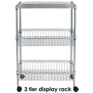 Bnew 3 TIER Display Rack Wire Basket Organizer Shelving