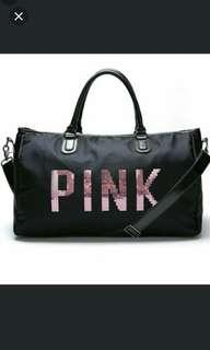 (NO INSTOCKS!)Preorder Victoria's secret Pink sequin duffel gym/beach bag * waiting time 15 days after payment is made * chat to buy to order