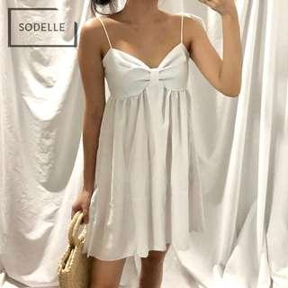 INSTOCKS Babydoll self tie front bow flare dress