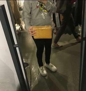 正貨Agnes b 黃色方形小手袋 易襯 $500