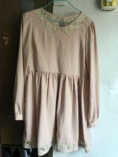韓國粉紅色連身裙