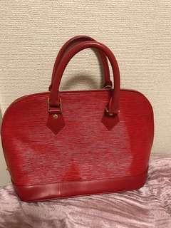Pre-loved Mini Alma Louis Vuitton Red
