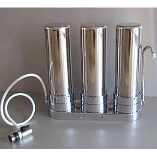 NEW Heavy Duty Stainless Countertop 3 Stage Water Purifier with Filters