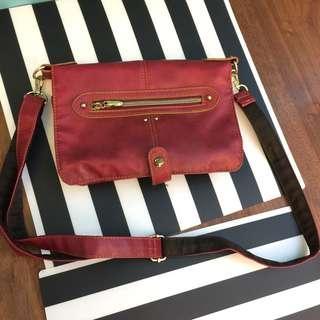 紅色皮斜咩袋 手袋 handbag