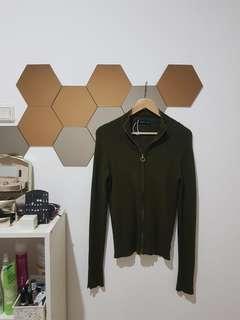 Zara, Green Army Sweater Pullover Top