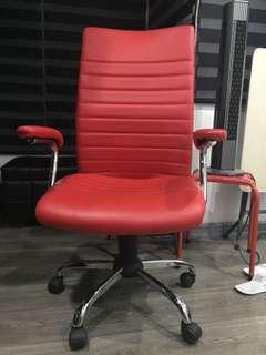 Dapper Red leather Office Armchair