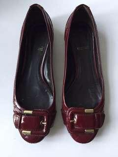 Burberry Patent Quilted Ballet Flats With Buckle