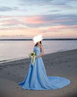 婚紗晚裝  長拖尾 綁帶款 淺藍色