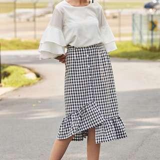 TCL Velle Ruffled Gingham Skirt