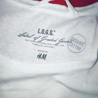 H&M L.O.G.G. white ladies Tee size small
