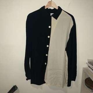 黑白拼接襯衫
