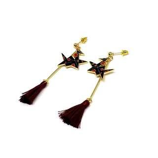 Paper crane with maroon tassel earrings