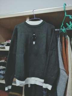 🚚 Sassy假兩件深綠針織上衣