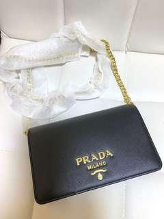 Prada Saffiano Leather Wallet on Chain❤️Brand New & Authenticate❤️Made in Italy