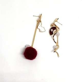 Rabbit and fan asymmetrical earrings
