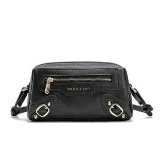 Instock Charles & Keith Textured Studs Buckle Ornate 2-Way Carry Sling Bag Cum Wristlet Pouch Case (Black) ASC3255  + FREE Post
