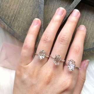 Herkimer Diamond 925 Silver Rings (Handmade)