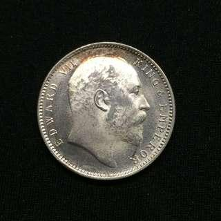 India 1906 Gem BU Edward silver 1 rupee