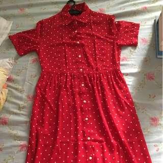 UNIQLO RED POLKA DOT BUTTONED DOWN DRESS