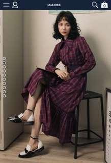 Marjorie-凡爾賽玫瑰,印象感格紋雙排釦外套式洋裝(特殊領)