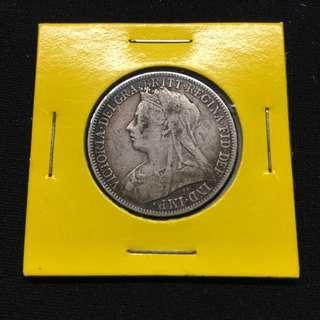Great Britain 1899 Victoria 2 Shillings silver coin