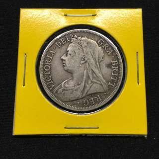 Great Britain 1900 Victoria Half crown coin