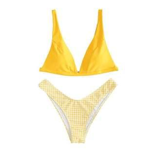 Two Piece Checkered Design Swimwear