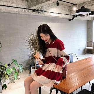 [PO] Knitted oversized polo top