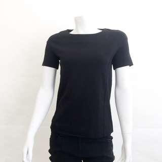 Auth CK CALVIN KLEIN Black Structured Top Career Blouse S Small 9CE-72006 VGUC