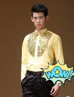 Shimmering Gold Bling Bling Long Sleeve Shirt