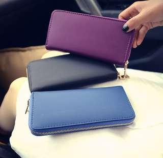 🚚 Gold Zip Long Wallet  - Purple Black Blue