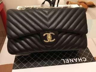 Chanel Chevron Classic Leather Bag