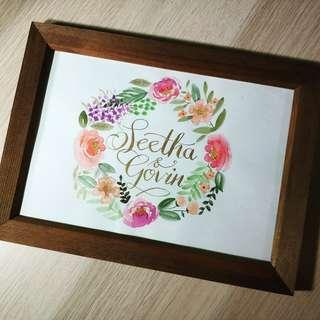 Personalised watercolour and calligraphy art frame