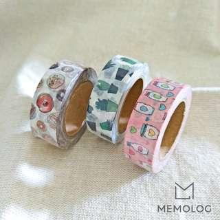 Cute Drawing of Doughnut, Succulent and Bottle Washi Tape
