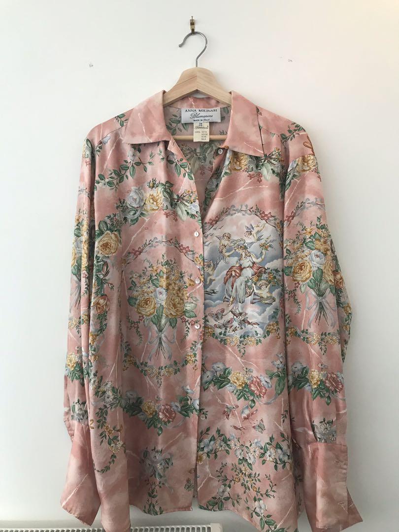 90s silk Anna Molinari Blue Marine oversized blouse