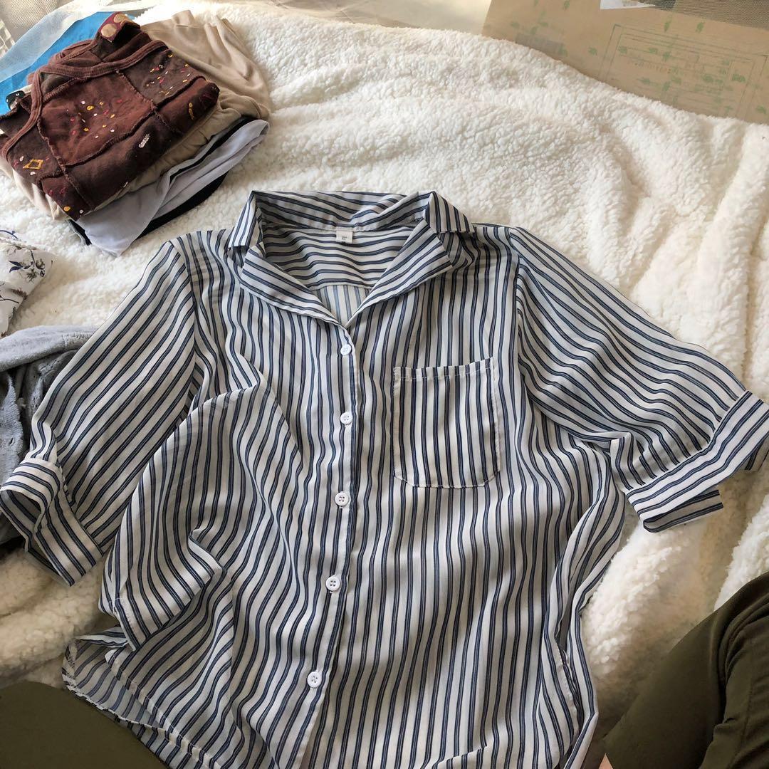 藏青色 條紋 薄襯衫👔