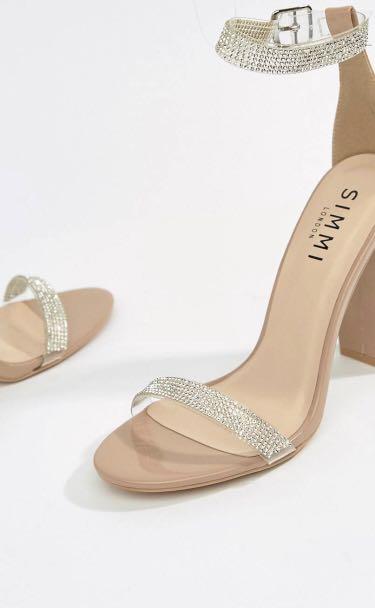 188a8fa3dbe ASOS BNIB Nude Diamante Clear Detail Block Heels   Sandals