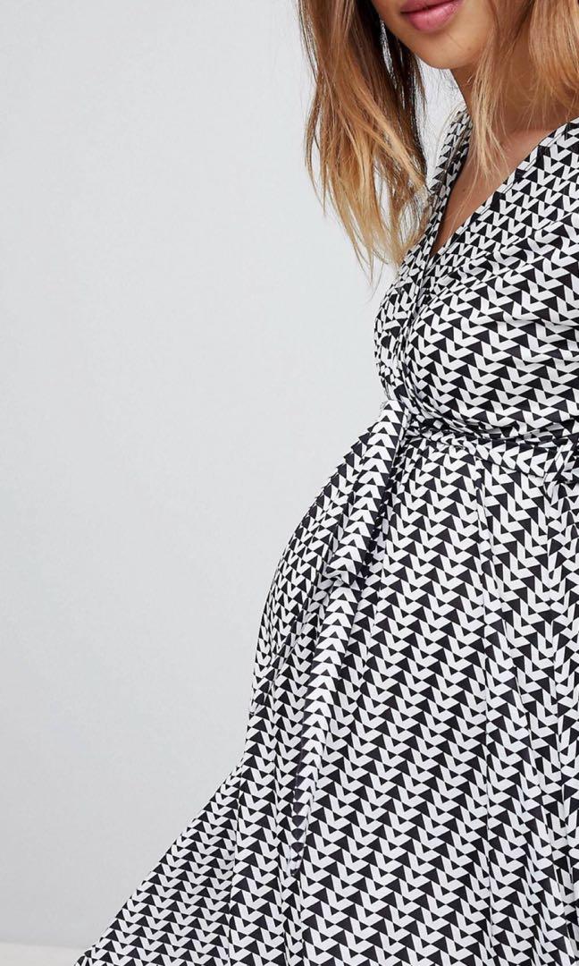 19be3c8d7d7a0 ASOS Geometric Maternity Wrap Midi Dress with Tie Waist, Women's ...