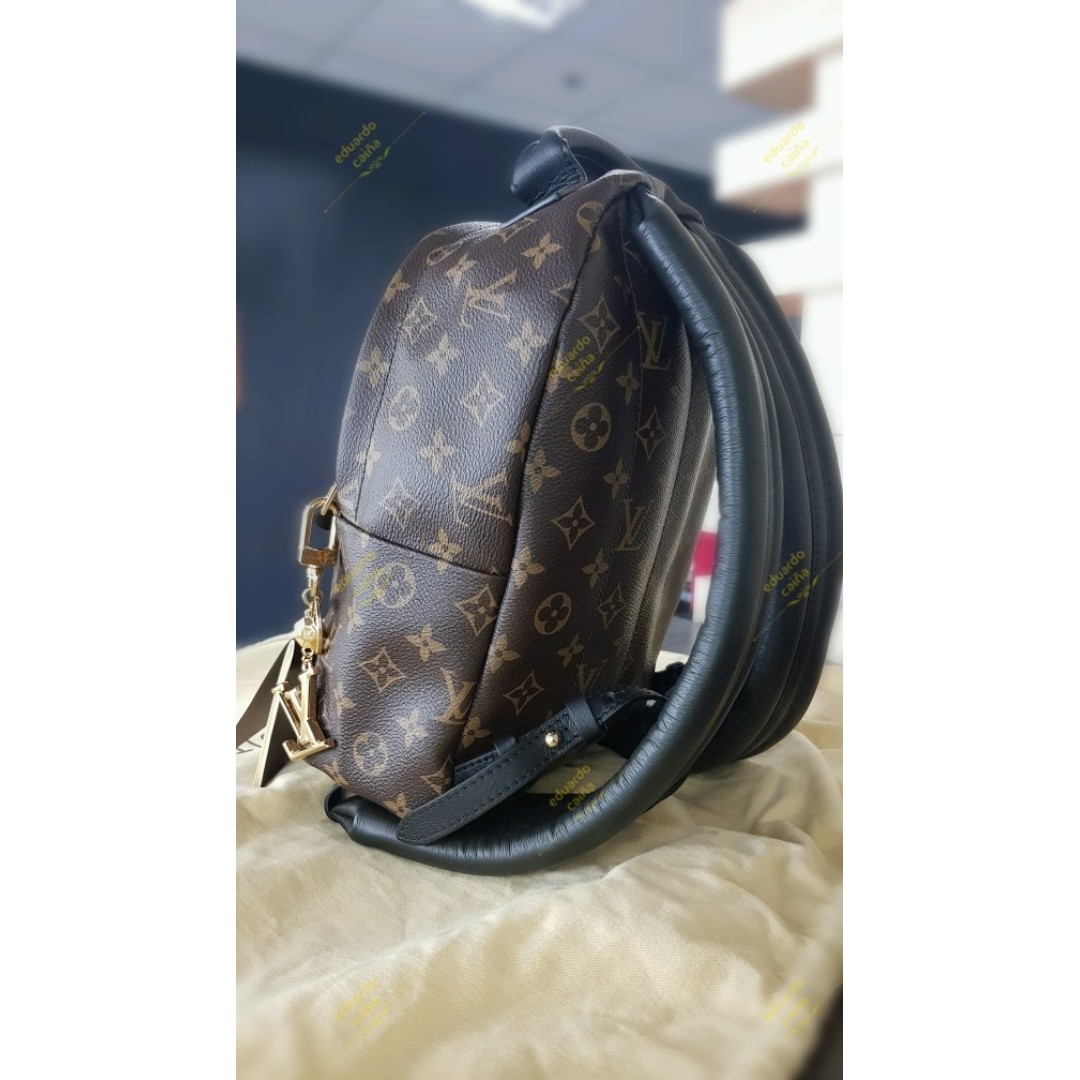 e1c1f5413091 Auth LOUIS VUITTON Palm Springs Calf Backpack PM 2016 Monogram Leather Noir  France M41560
