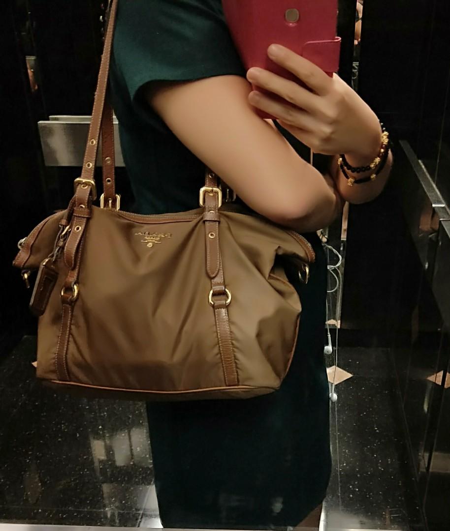 2cf906ec20 Authentic Prada Tessuto Nylon Shoulder Carry Tote Bag Brown ...