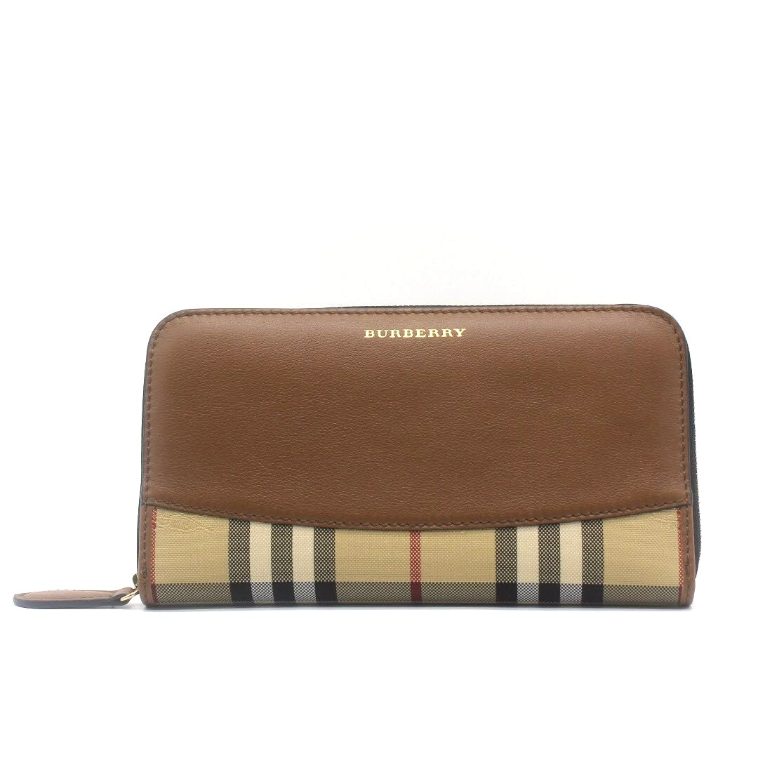 5b1a20226d14 Burberry Horseferry Check And Leather Zip Around Wallet (Tan Brown ...