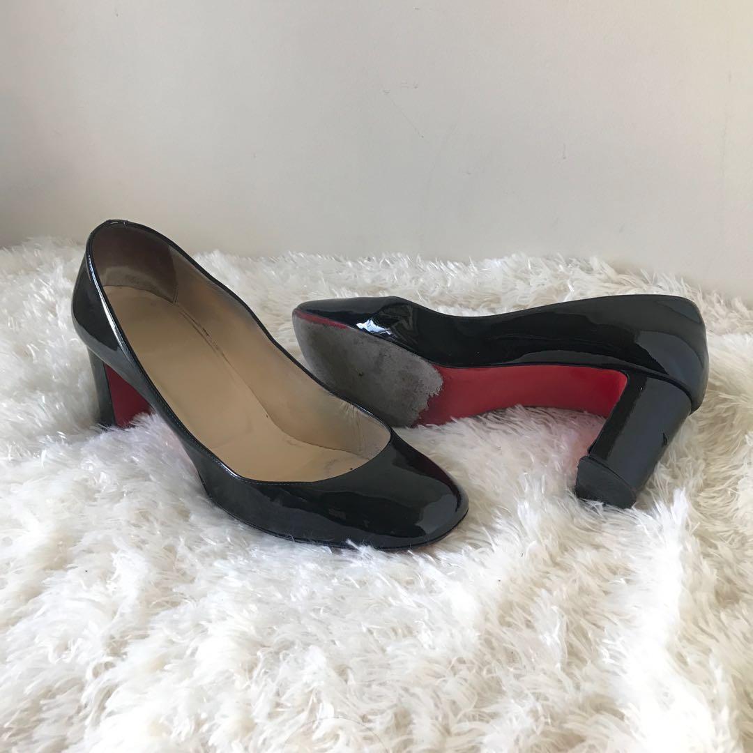 0af0caca3dc7 Christian Louboutin Black Patent Block Heel Pumps 38.5 Authentic ...