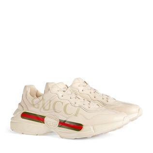 Gucci 波鞋 Rhyton logo-print-low-top leather trainers